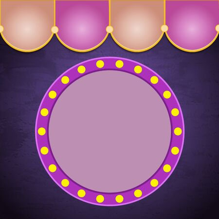 Grunge violet background with circus vintage tent and retro banner. Design for presentation, concert, show. Vector illustration Vector Illustratie
