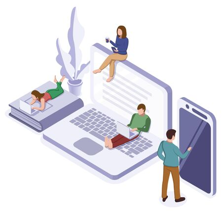 Online self-isolation concept. Group of people education or working at home. Vector isometric illustration 向量圖像