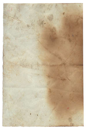 Old vintage rough texture retro paper with burned stains and scratches background isolated
