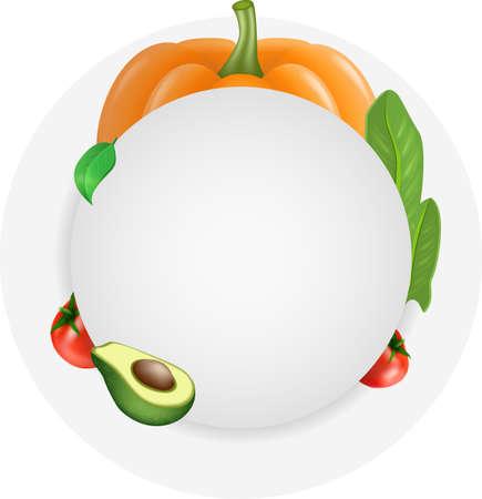 Vegetables round flyer banner card template for design. Vector illustration
