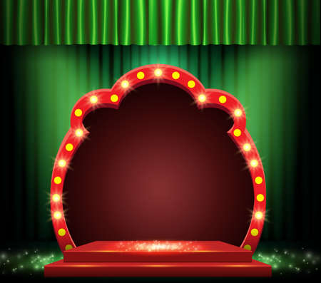 Background with green curtain, podium, spotlights and retro arch banner. Design for presentation, concert, show. Vector illustration