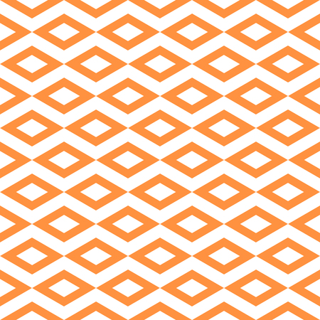 Abstract pattern with border diamond shape. Seamless tiling background, orange white color texture.