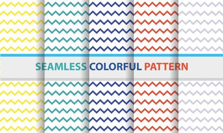 Seamless colorful pattern set. Zigzag line shape, abstract flat design background. Illustration