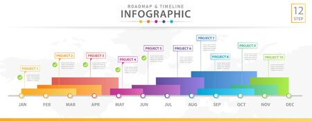 Infographic template for business. Modern Timeline diagram calendar with grantt chart, presentation vector infographic.  イラスト・ベクター素材