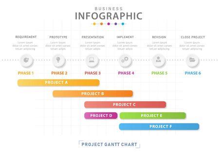 Modèle d'infographie Calendrier de diagramme de chronologie moderne en 6 étapes avec graphique de Grantt, infographie vectorielle de présentation. Vecteurs