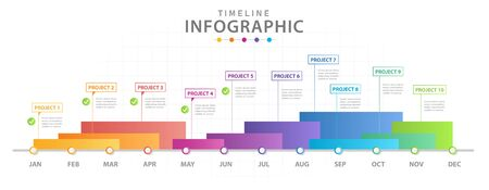 Infographic template Modern Timeline diagram calendar with grantt chart, presentation vector infographic.