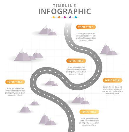 Infographic sjabloon voor het bedrijfsleven. 6 stappen modern tijdlijndiagram met bergen, presentatie vector infographic.
