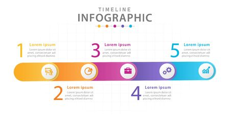 Infographic template for business. 5 Steps Timeline diagram with circles, presentation vector infographic.