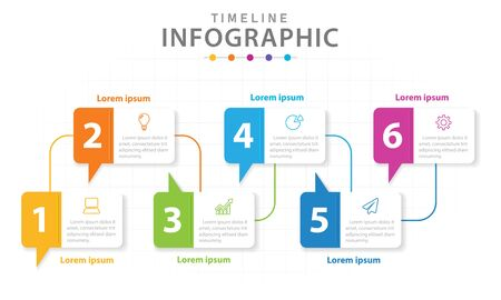 Infographic template for business. 6 steps Modern Timeline diagram with line graph, presentation vector infographic.