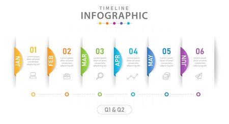 Infographic template for business. 6 Steps Modern Timeline diagram calendar with quarter, presentation vector infographic. Vetores