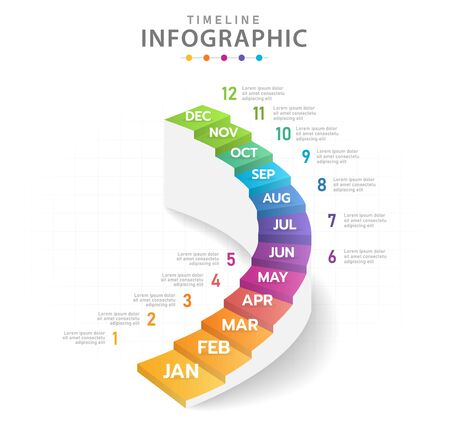 Infographic template for business, Modern Timeline diagram calendar with stair grantt chart.