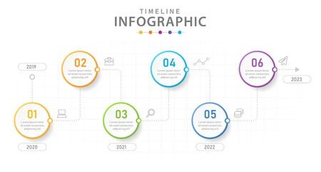 Infographic template for business. 6 Steps Modern Timeline diagram with lines, presentation vector infographic. Vector Illustration