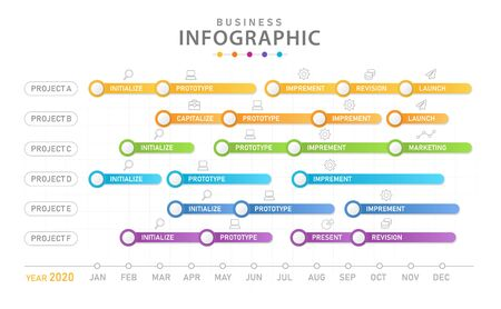 Infographic template for business project. Modern Timeline diagram calendar with gantt chart, presentation vector infographic.