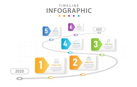 Infographic template for business. 6 Steps Modern Timeline diagram with roadmap, presentation vector infographic.