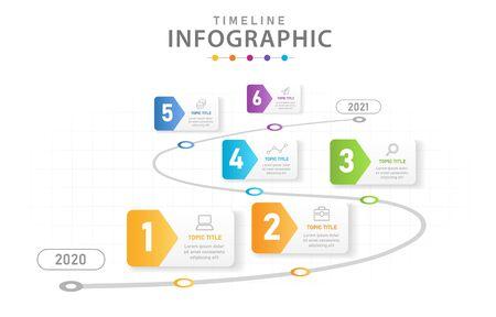 Modèle d'infographie pour les entreprises. Diagramme de chronologie moderne en 6 étapes avec feuille de route, infographie vectorielle de présentation.