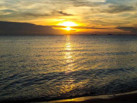 oversea: Eye of sunlight when sunset in oversea Stock Photo