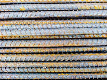buildingsite: DEFORMED BARS STEEL material Stock Photo