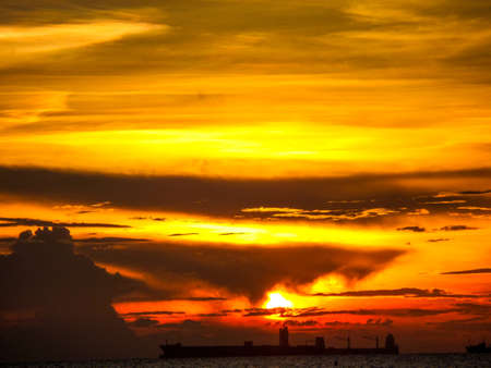 oversea: Color and flame of sunlight when sunset in oversea light and shadow