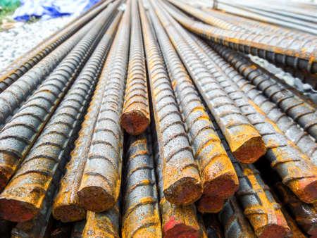 buildingsite: DEFORMED BARS STEEL material on top Stock Photo
