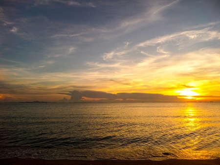 oversea: Flame of sunlight when sunset in oversea Stock Photo