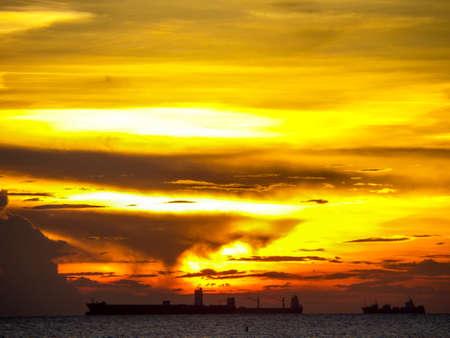 oversea: Last sunlight when sunset in oversea light and shadow