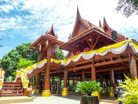 dole: Pavilion in blue sky at Wat Chong Lom Banglamung Chonburi Thailand Editorial