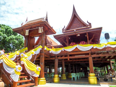 dole: Pavilion wood in blue sky at Wat Chong Lom Banglamung Chonburi Thailand