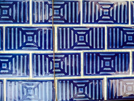 asian culture: Wall tile vintage style, chinese or asian culture Stock Photo