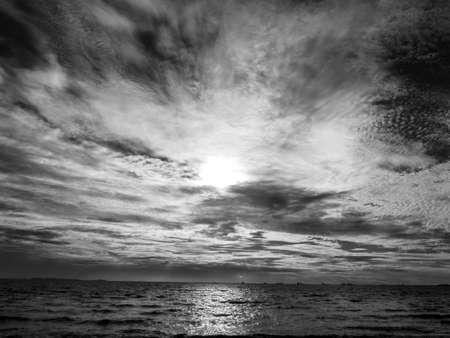 dark sky: Sunset and dark cloud in the sky