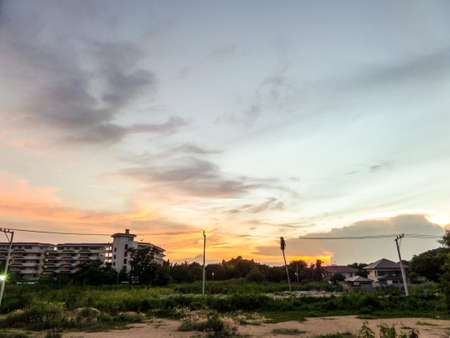 dramatic characters: cloud and sky when sunset in empty place