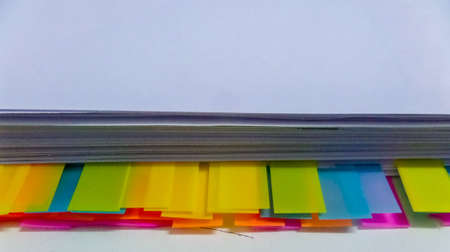 chit: Image of colorful sticky notes on paper isolate background Stock Photo