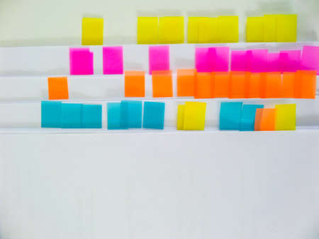forgetful: Image of colorful sticky notes on paper isolate background Stock Photo