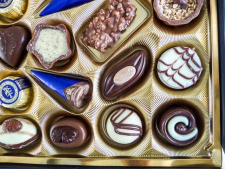 fancy sweet box: the chocolate classes  on luxury package Stock Photo