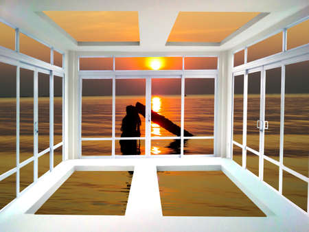living room window: Glass door and window living room sea and sunset view