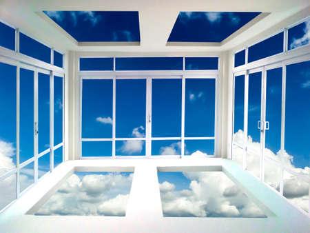 living room window: Glass door and window living room cloud sky view