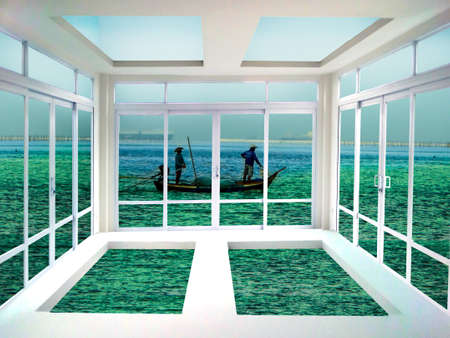 living room window: Glass door and window living room sea and cloud view Stock Photo