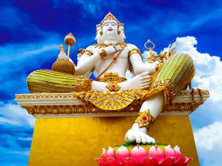 phrom: brahma in blue sky and white cloud at Wat Samarn Rattanaram