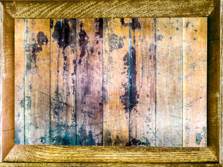 horizental: old vertical wood pieces and shadow wood border Stock Photo