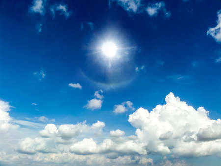 cumulus: White Cloud blue sky and sunshine Stock Photo