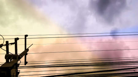 colorfull: power electric lines and colorfull fantacy sky Stock Photo