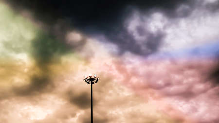 colorfull: power electric pillar and colorfull fantacy sky