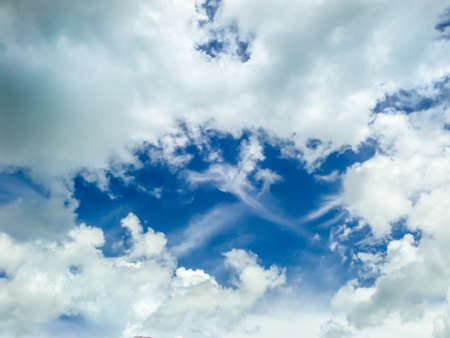 dramatic characters: clound blue sky background at midday in spring