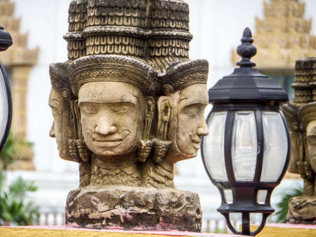 brahma head status religion art in the temple at banglamung city