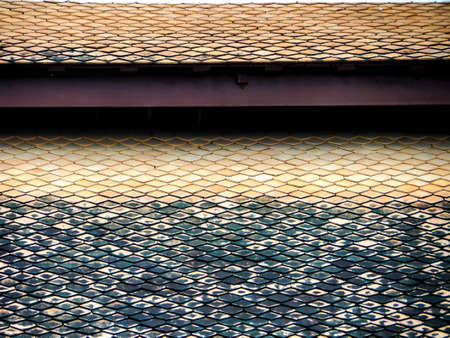 Roof horizental line pattern background at buddha temple Stock Photo