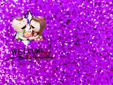crystallize: ceramic doll and crystallize purple grave tone background Stock Photo