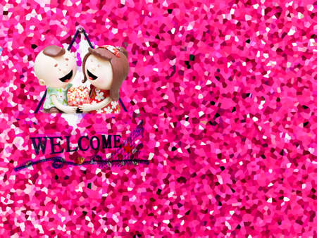 crystallize: ceramic doll and crystallize pink tone background Stock Photo