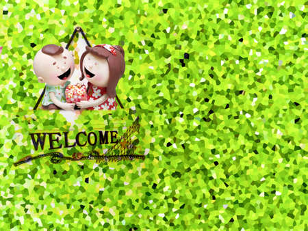 ceramic doll and crystallize of water fern background