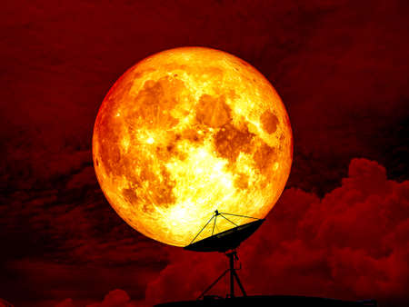 Blood moon full moon and satellite, Elements of this image furnished by NASA 版權商用圖片