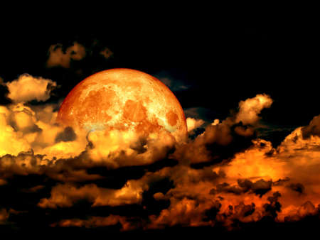temperament: Blood moon full moon and in heap cloud, Elements of this image furnished by NASA Stock Photo