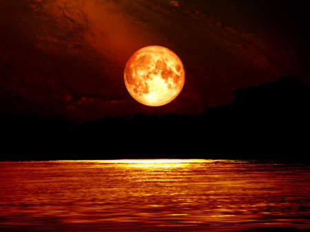 full blood moon sky and moonlight on river, Elements of this image furnished by NASA